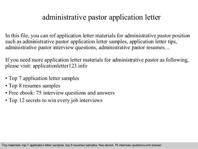 Cover Letter For Resume Administrative Resume Writing Resume Examples Cover Letters Administrative Pastor Application Letter