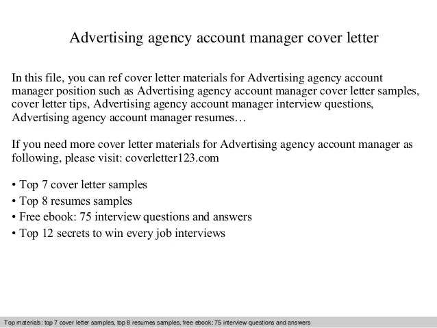 Sample Email Cover Letter Eduers Advertising Agency Account Manager Cover Letter