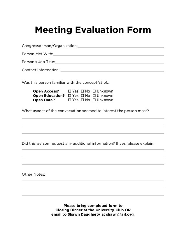Employee Evaluation Forms And Performance Appraisal Form Advocacy Day Meeting Evaluation Form