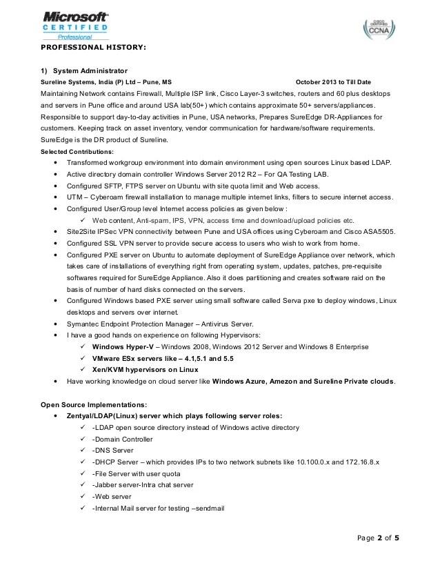 Linux Administrator Resume Format   Linux Resume Format