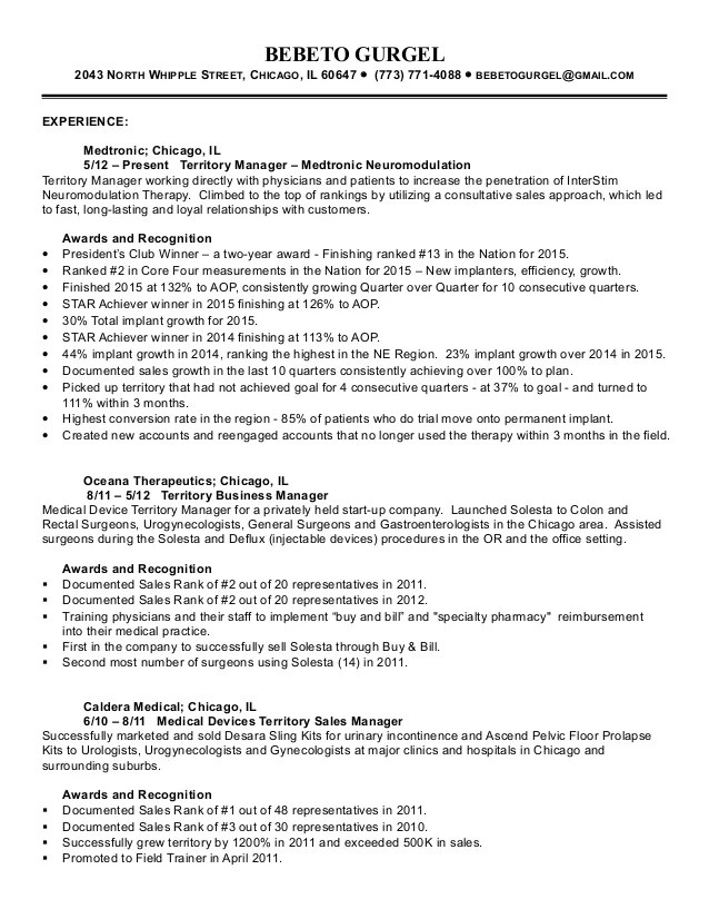 medical equipment sales resume examples