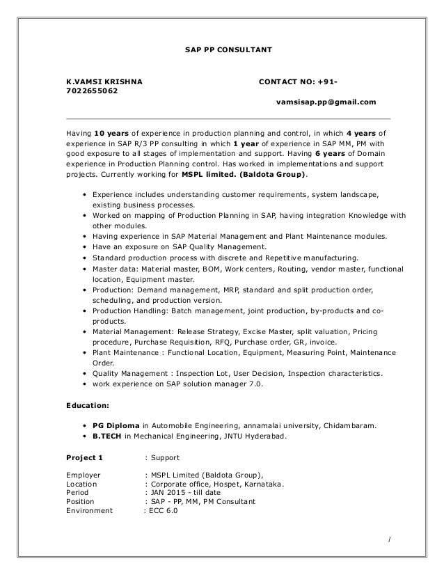 Pretty Sap Pp Consultant Resume Sample Contemporary Example Resume