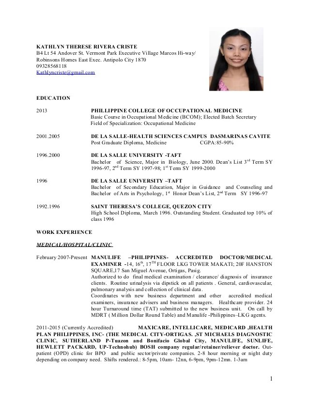 Physician Employment Articles And Information On Doctor Physician Cv Kathlyn Therese Criste