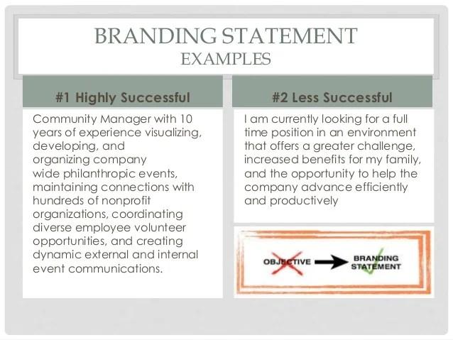 resume branding statement customer service