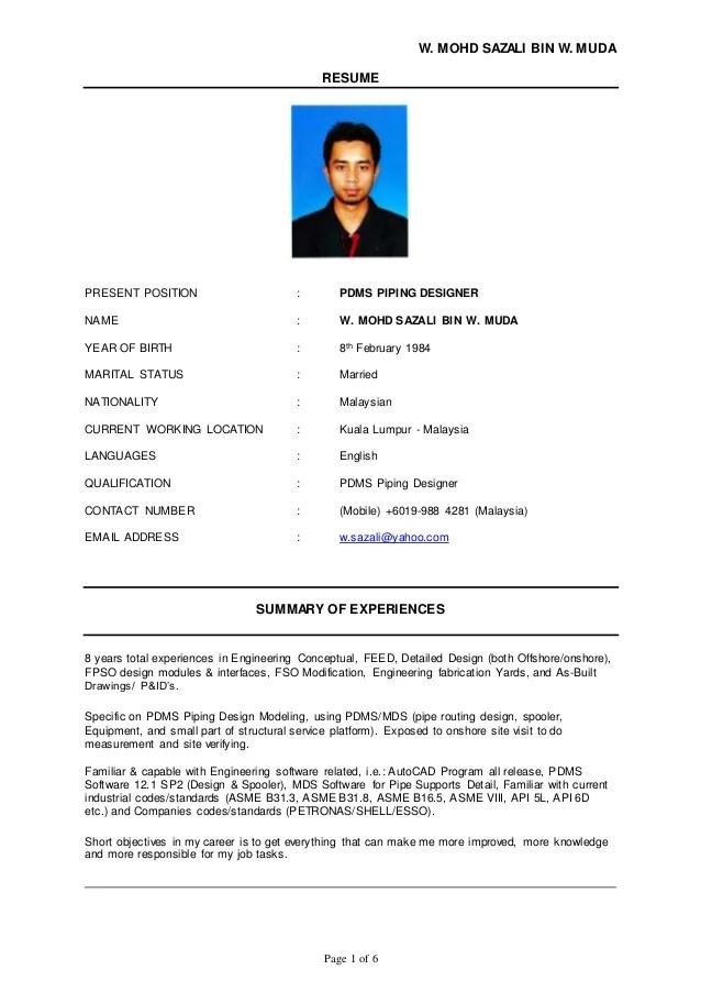 pdms piping designer resume sample