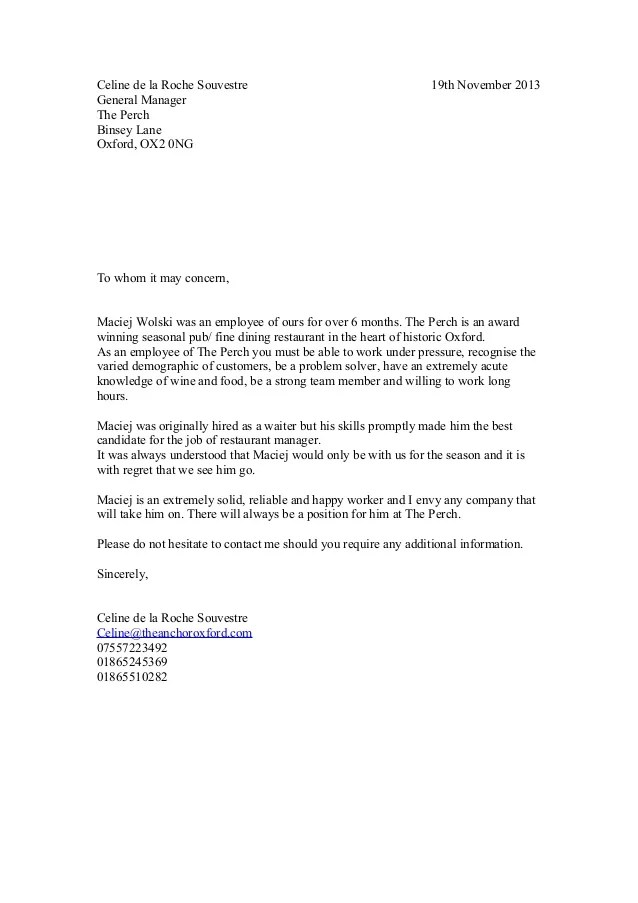 recommendation letter for employee from manager - Erkal