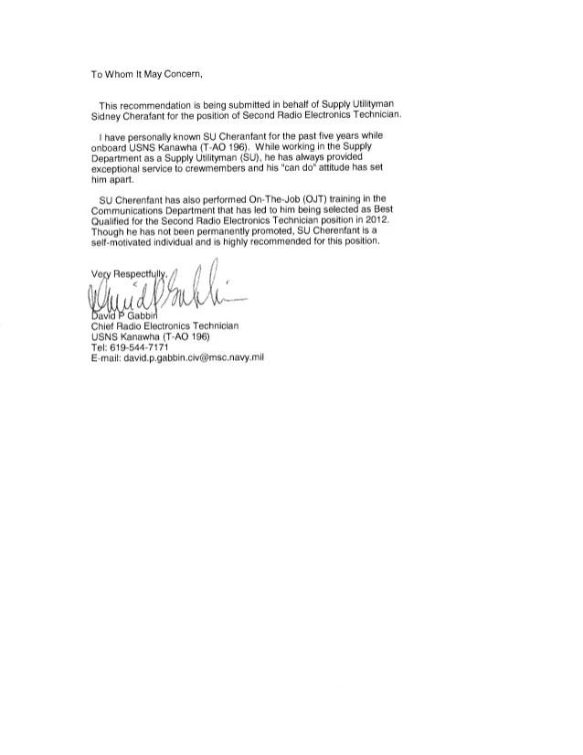Self Recommendation Letter For Job Promotion
