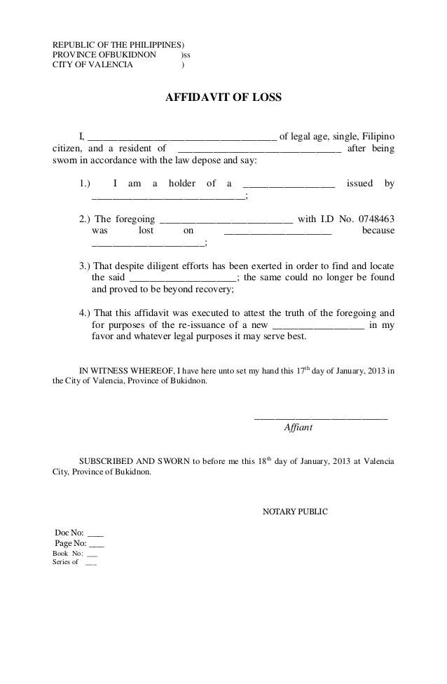 Doc564772 Affidavit Sample Format Doc564772 Sample Affidavit – Affidavit Template Doc