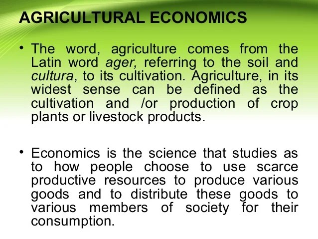 Agricultural Economics and Marketing