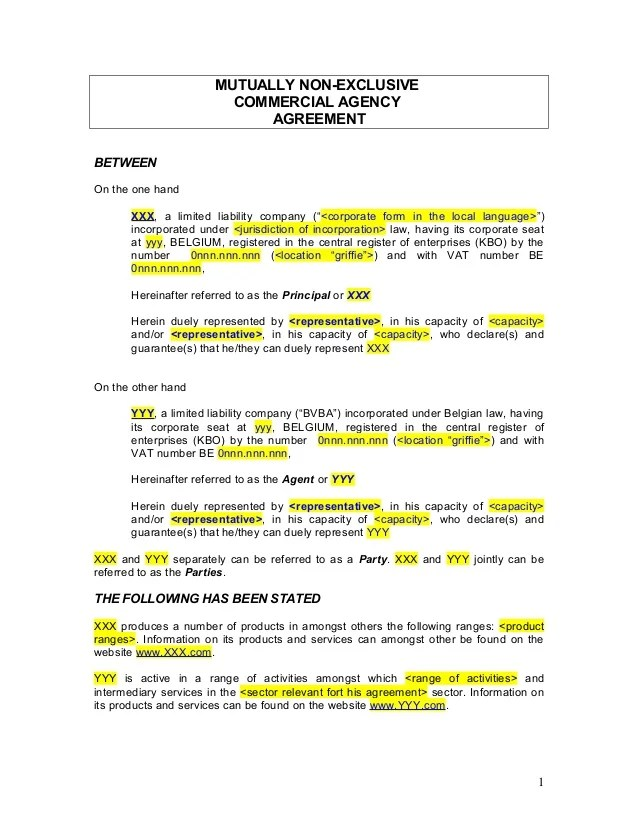 Agent agreement template free for Commission sharing agreement template