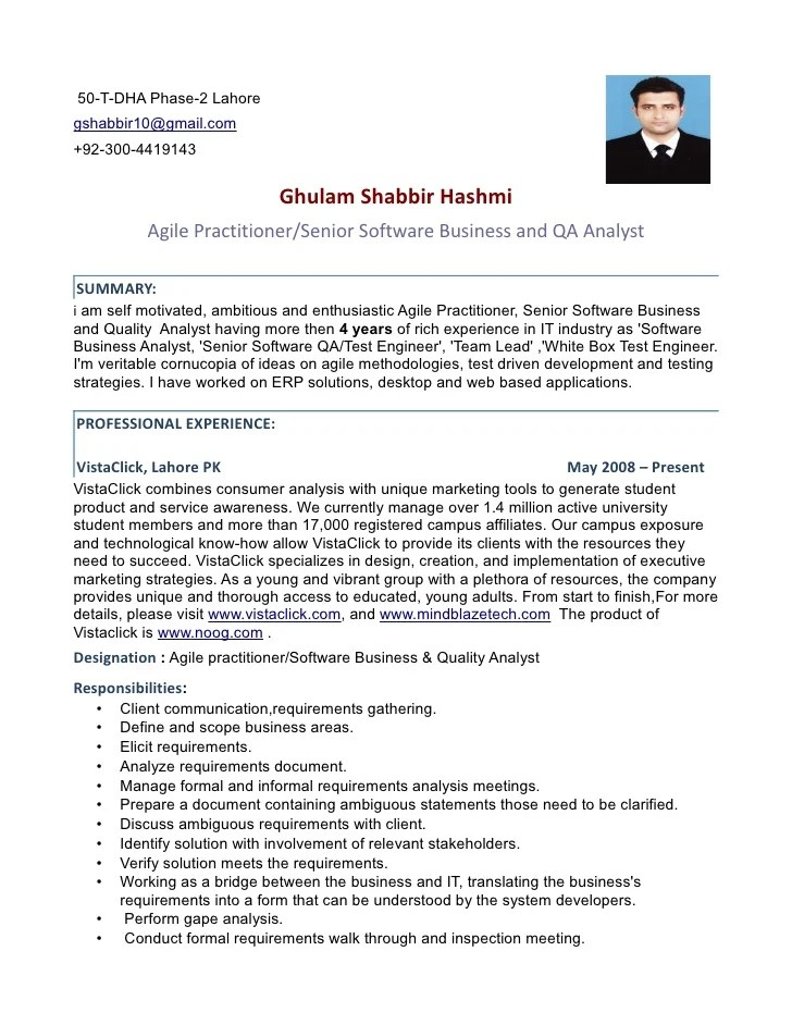 senior quality assurance analyst resume