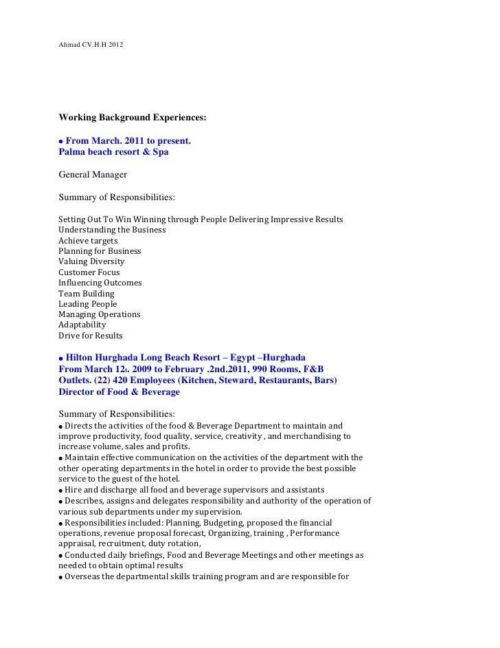 Resume Template Mine Ahmad Hashem Cv And Covering Letter 201212