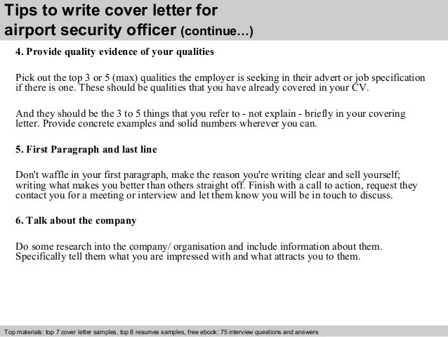 Sample security officer cover letter
