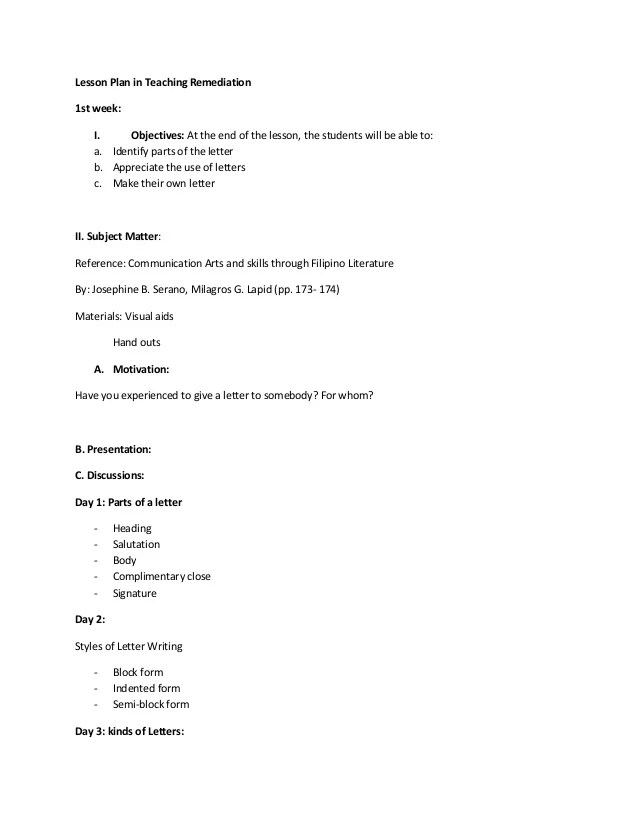 how to write a lesson plan template