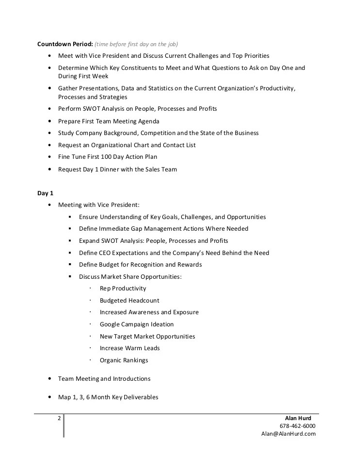 100 day action plan template document sample - Minimfagency