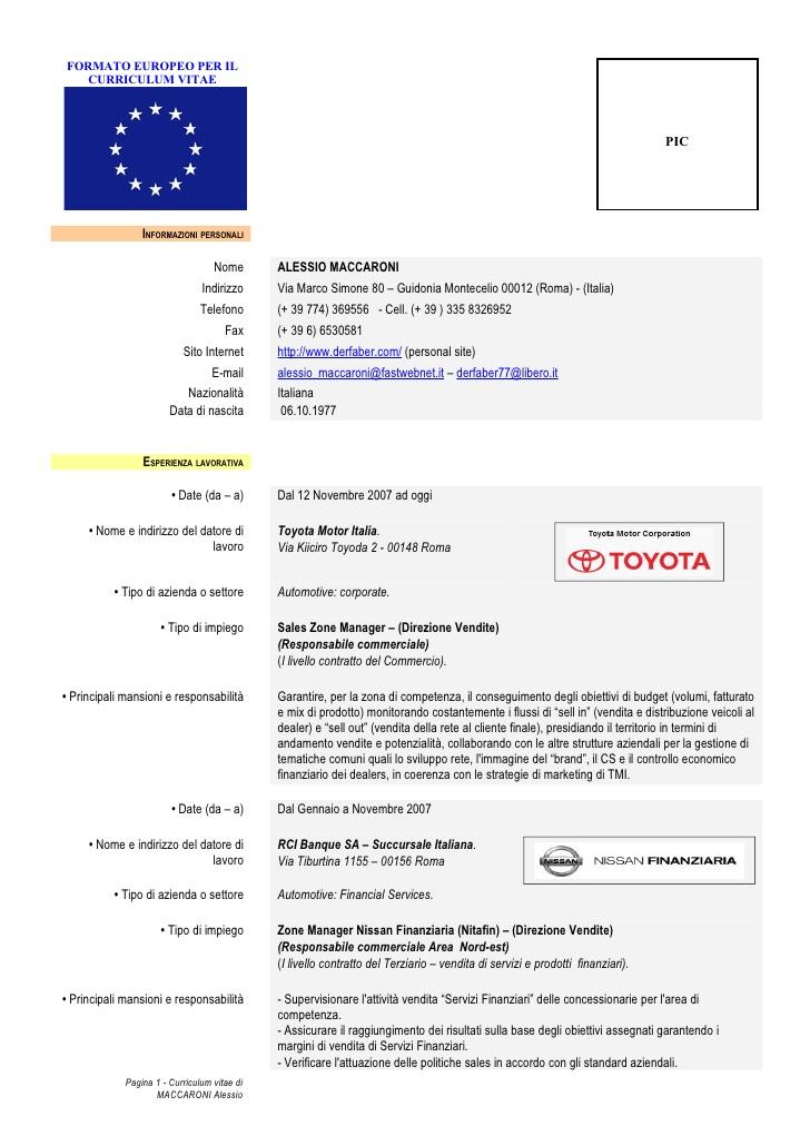 Cv Europass Curriculum Vitae Formato Europeo Resume Pdf Download