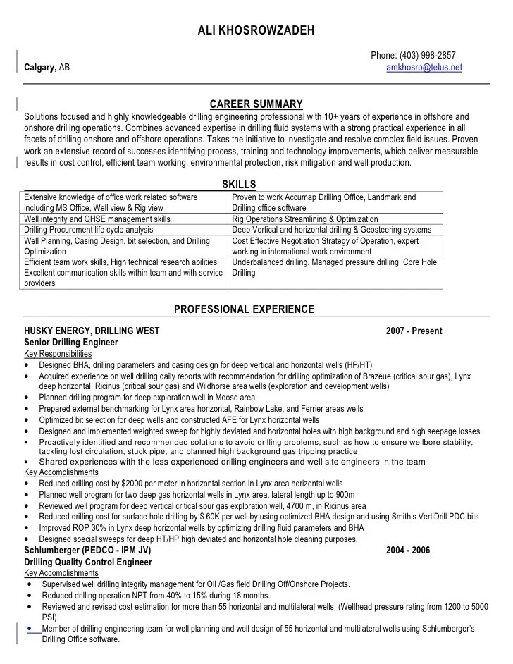 Civil Engineer Cv Examples And Template Ali Khosrowzadeh Ah Drilling Resume After
