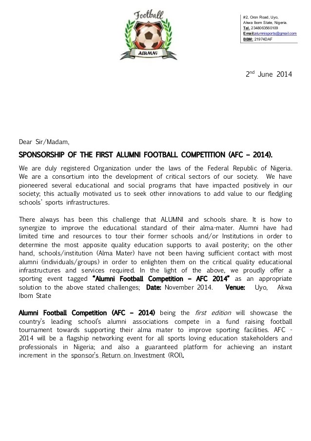 Sponsorship Letter Individual – Sports Sponsorship Letter