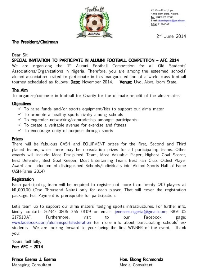 Sample Business Event Invitation Letter Free Sample Letters Alumni Football Competition Afc 2014 Registration