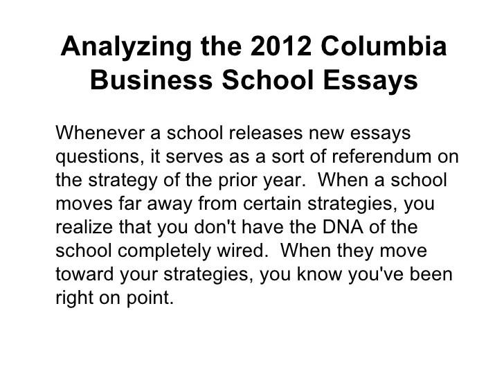 analyzing the 2012 columbia business school essays