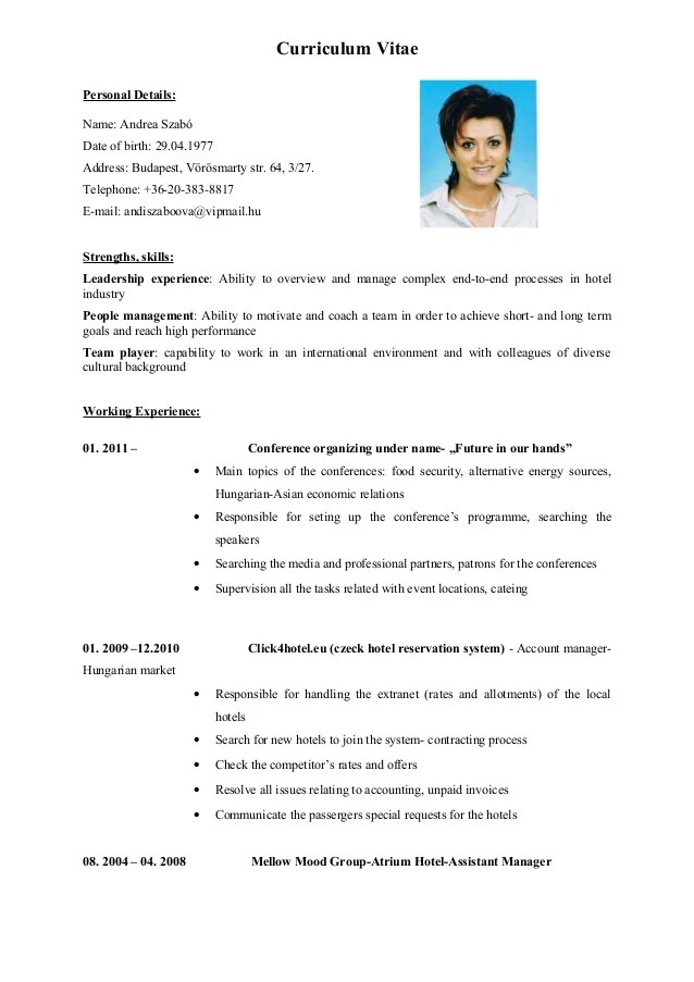 cv in english of two pages