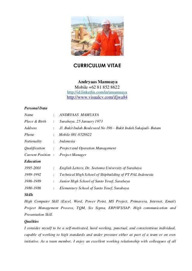 Curriculum Vitae Careerlinkvn Andryaas Project Manager Cv 2012