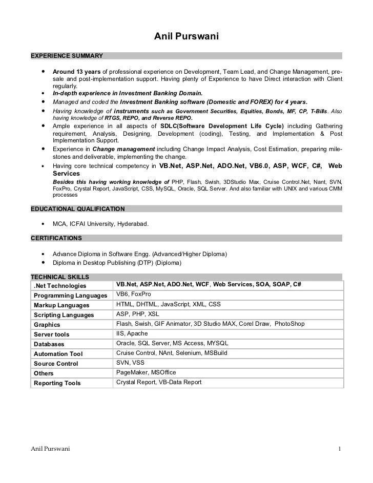 resume 1 year experience dot net best resumes curiculum vitae