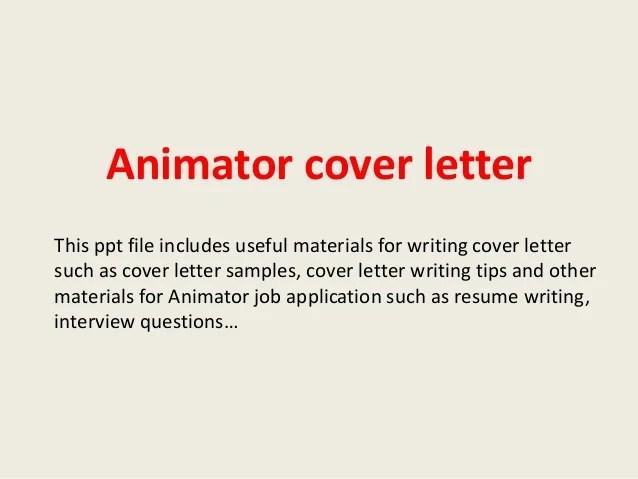 sample animator cover letter - Onwebioinnovate