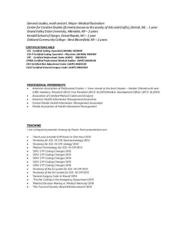 certified professional coder resume sample - Josemulinohouse - coding auditor sample resume