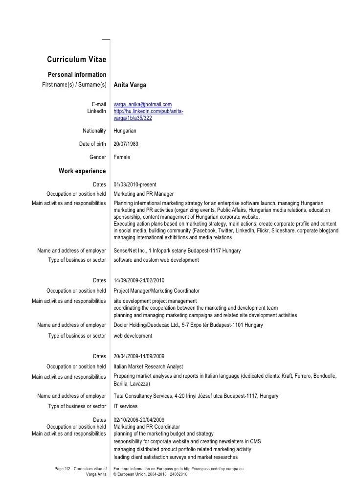 cv curriculum europass