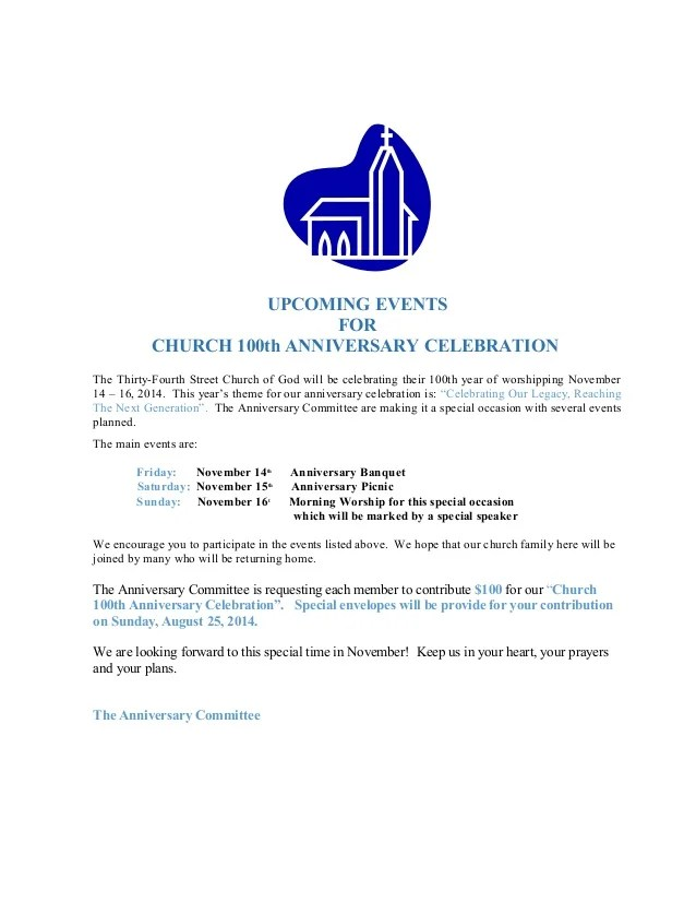 sample invitation letter for church anniversary celebration - Tower