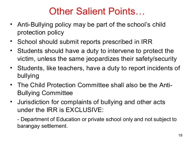 Anti Bullying Salient Points