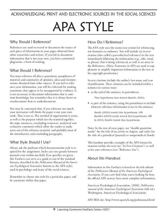 sample papers written in apa format