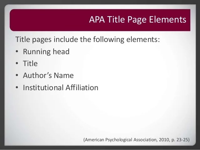 how to make apa title page