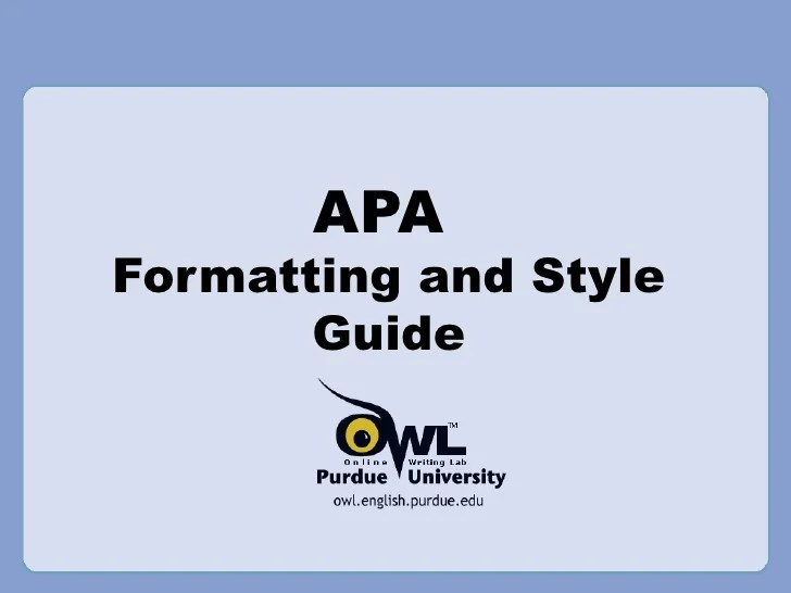 apa style formating