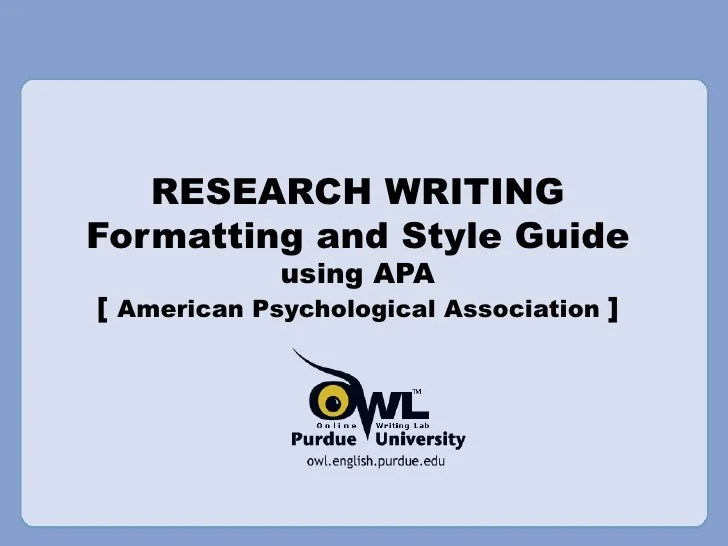Template For An Apa Style Research Proposal Research Writing Apa References Style