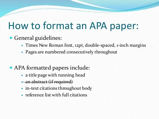 how to format apa style