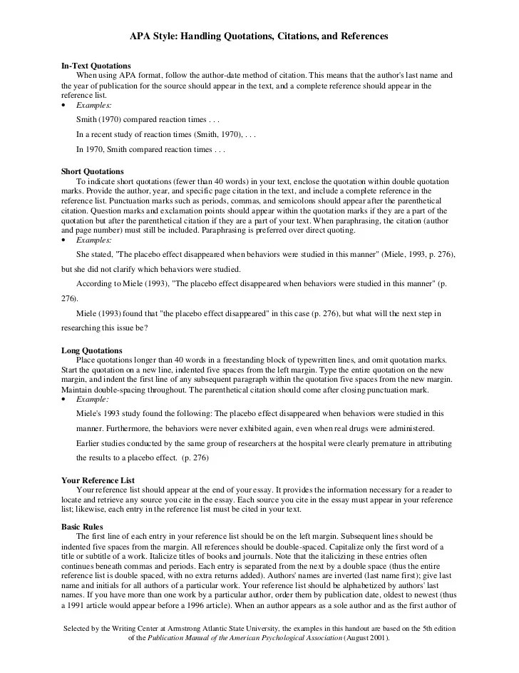 List of references research essay format