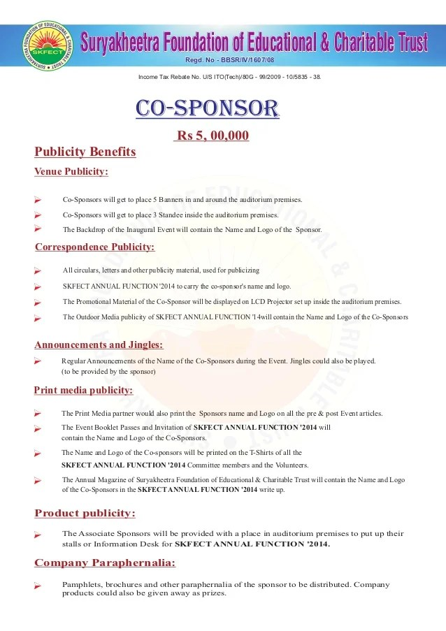 Sponsorship Letter Template Free Sample Letters Appeal Letter For Annual Day Function Of Mos And Skfect 2014