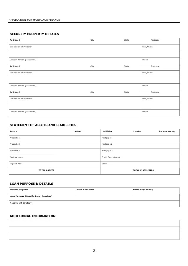 Personal Financial Statement Directline Finance Mortgage Finance Application Form