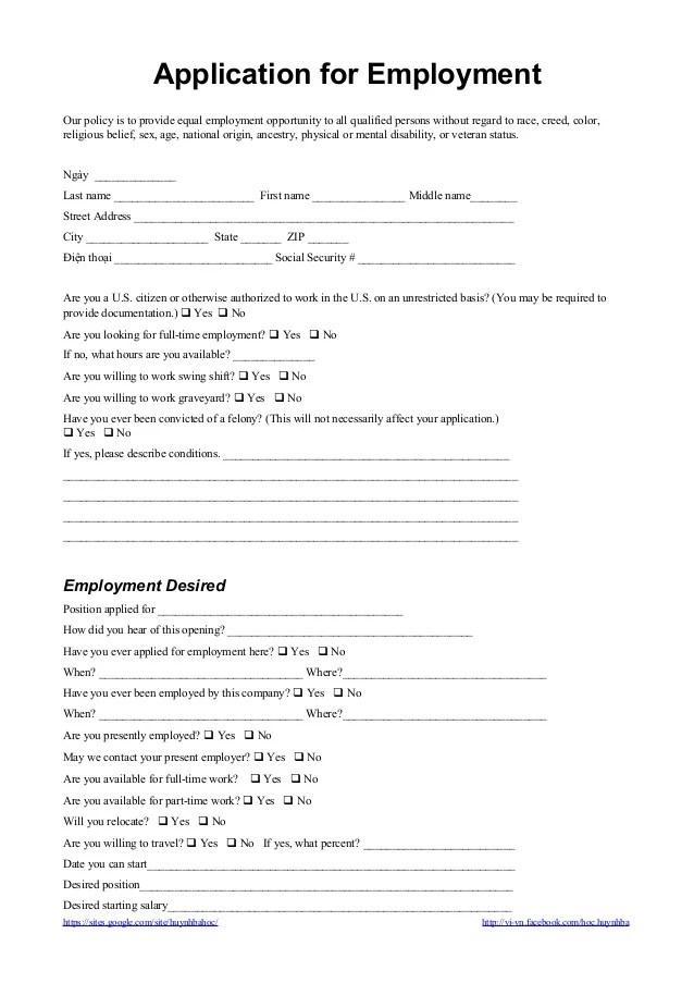 Free Printable Cvs Job Application Form Application Form For Employment đơn Xin Việc Tiếng Anh