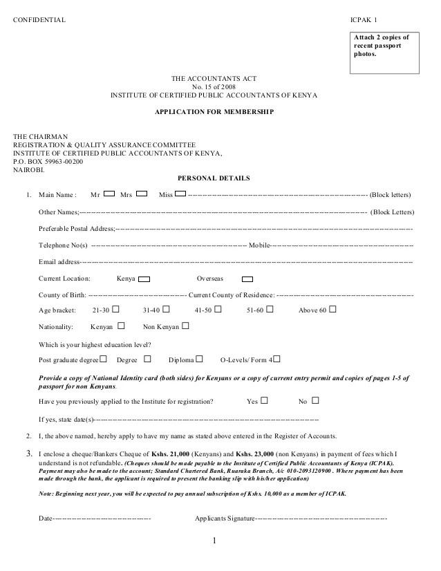Application form for registration icpak