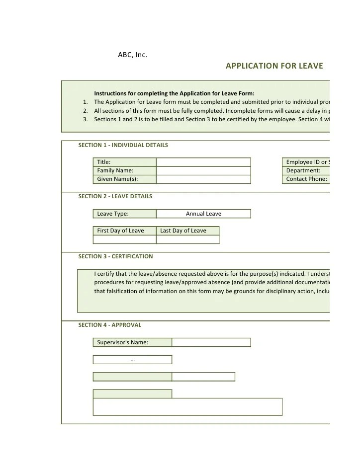leave of absence request form - Minimfagency - sample leave request form
