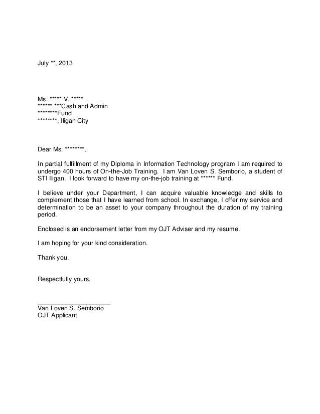 Speech Lanaguage Pathology Clinical Practicum Handbook Application Letter For Ojt