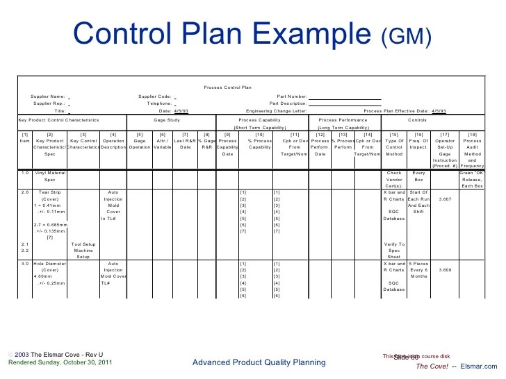 quality control plan template for manufacturing - Josemulinohouse - control plan