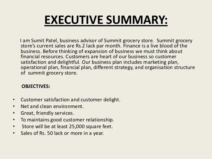 executive summary template for business plan