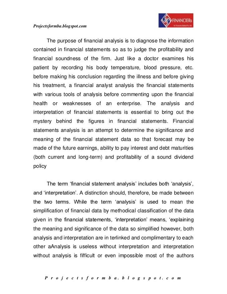 financial analyst report sample - Ozilalmanoof