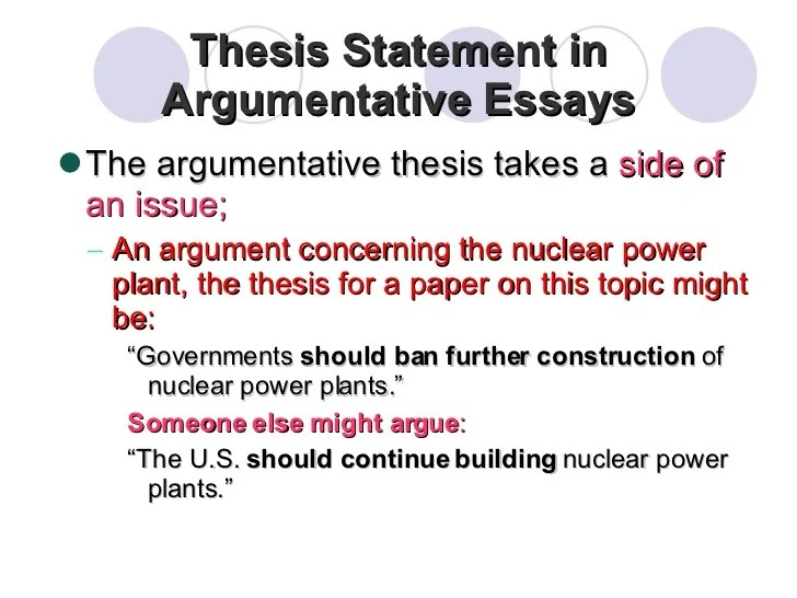 thesis for argumentative essay