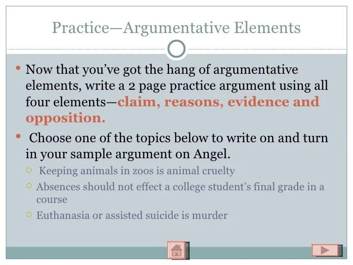 Classical Argumentative Essay Elements