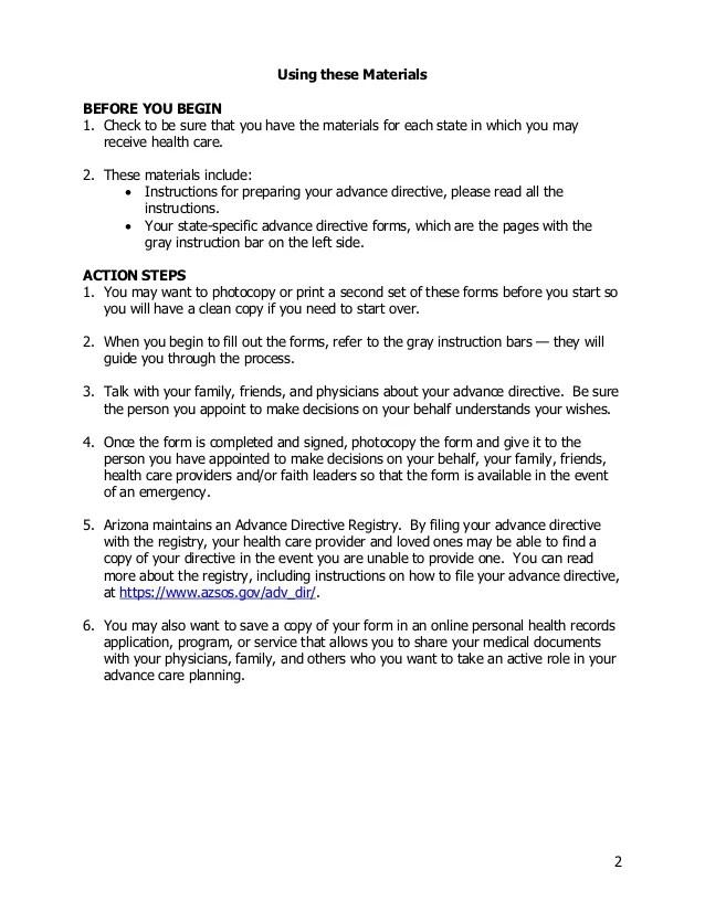 advance directive form arizona - Solidgraphikworks - Advance Directive Forms